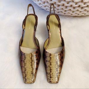 Liz Claiborne snakeskin embossed slingback heels